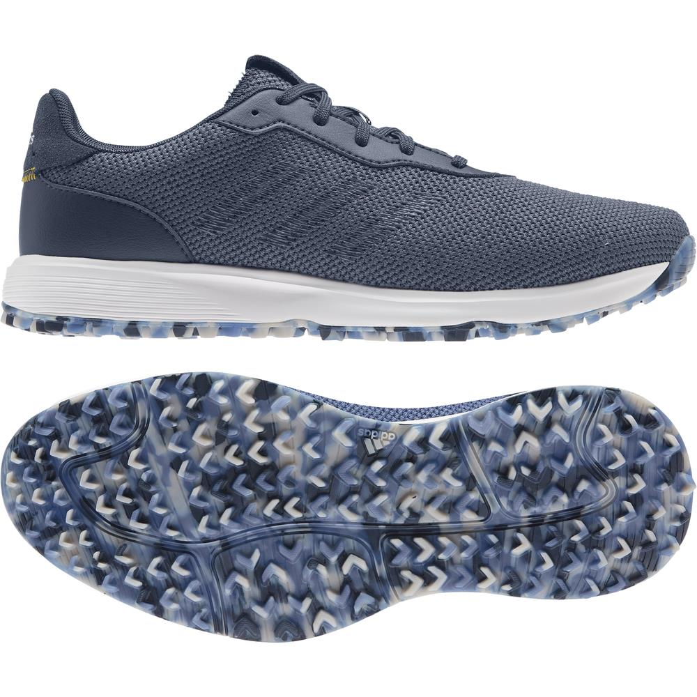 adidas S2G SL Textile Mens Spikeless Golf Shoes (Crew Blue/Crew Navy/Yellow)