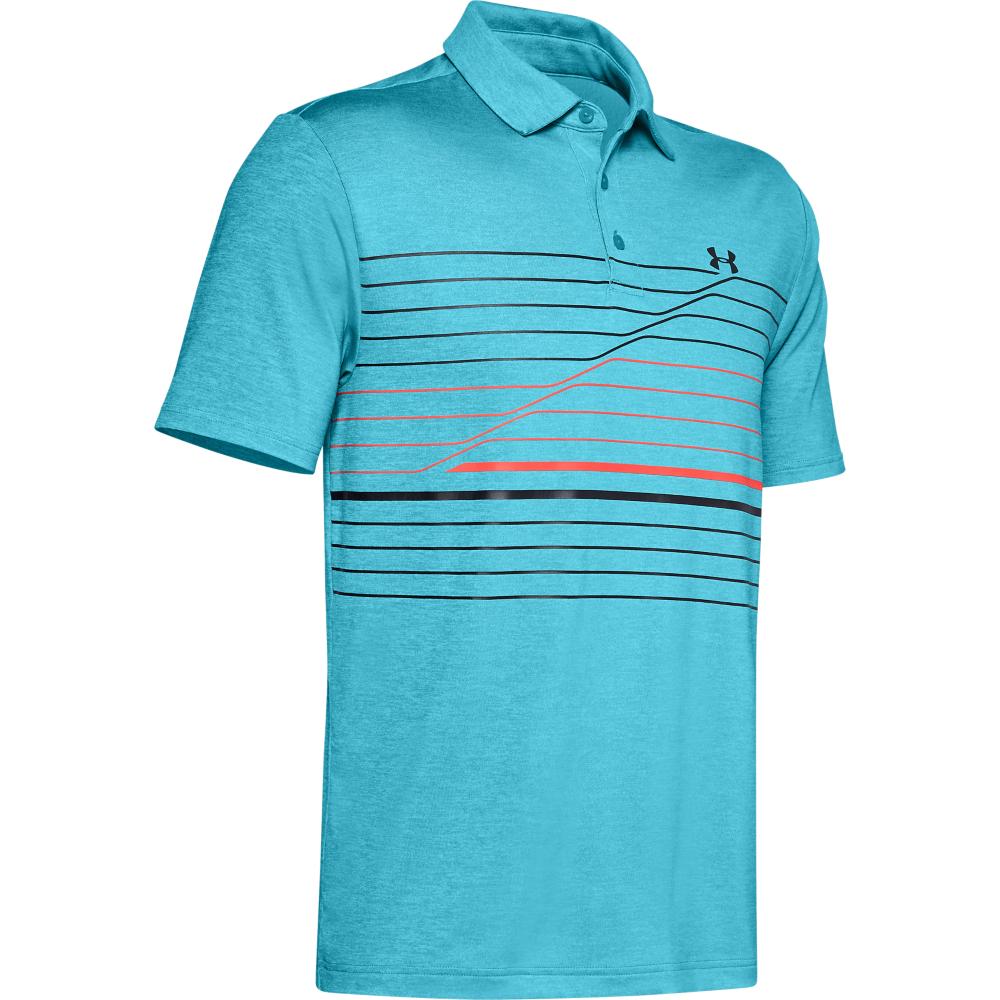 Under Armour Mens PlayOff Hero Graphic Golf Polo Shirt  - Escape/Rift Blue/Black