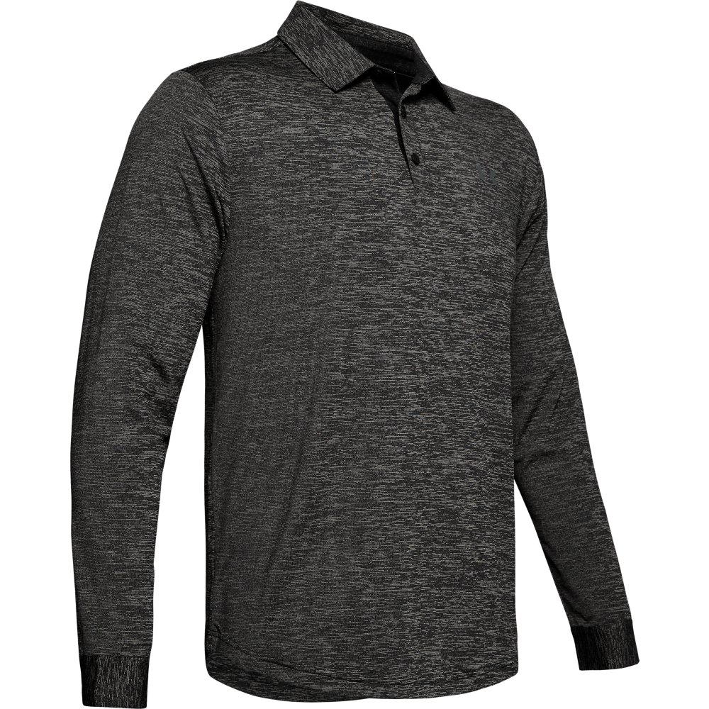 Under Armour Golf Playoff 2.0 Long Sleeve Mens Polo Shirt  - Black/Pitch Grey