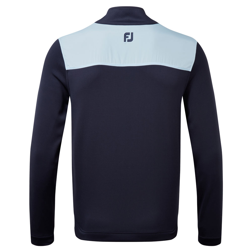FootJoy Woven Yoke Chill Out Golf Pullover  - Navy/Sky