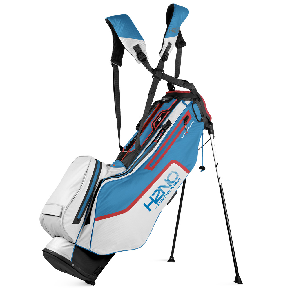 Sun Mountain H2NO Lite Speed Waterproof Stand Golf Bag  - Black/White/Skydive/Bright Red