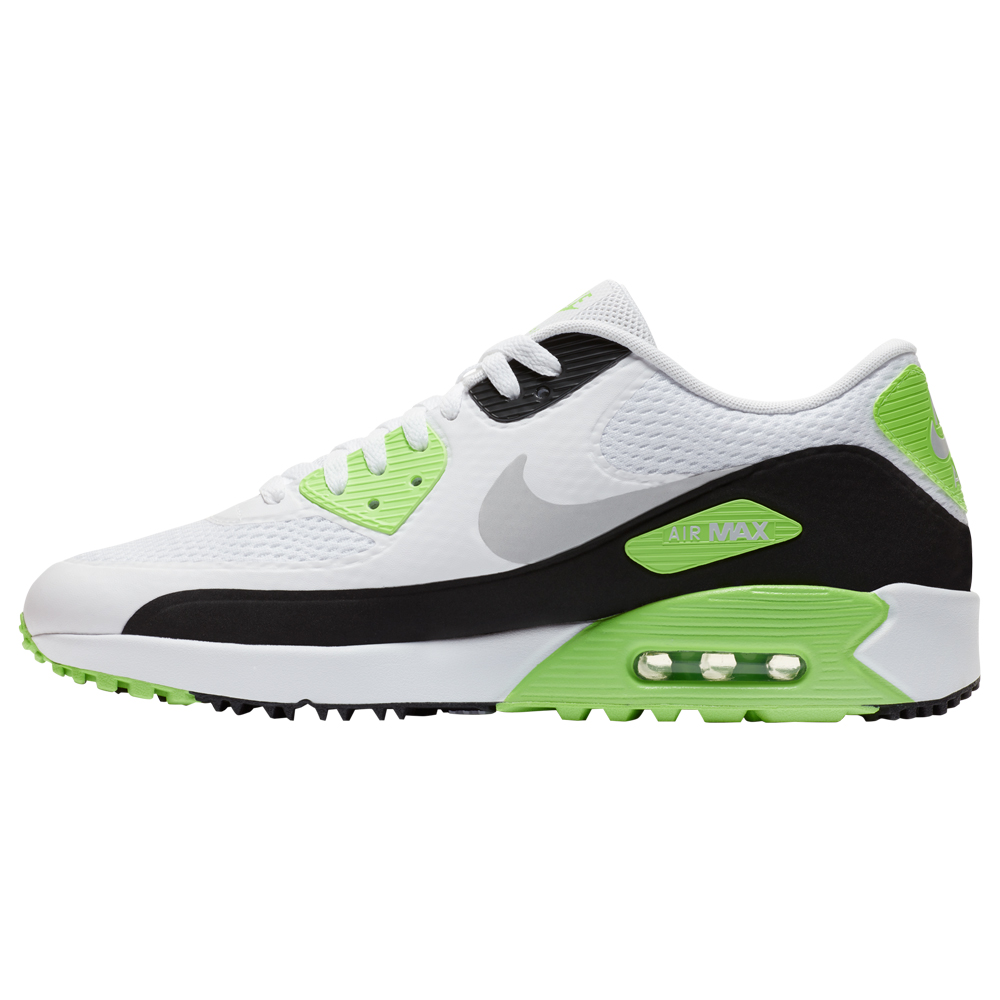 Nike Air Max 90 G Spikeless Waterproof Golf Shoes  - White/Black/Flash Lime