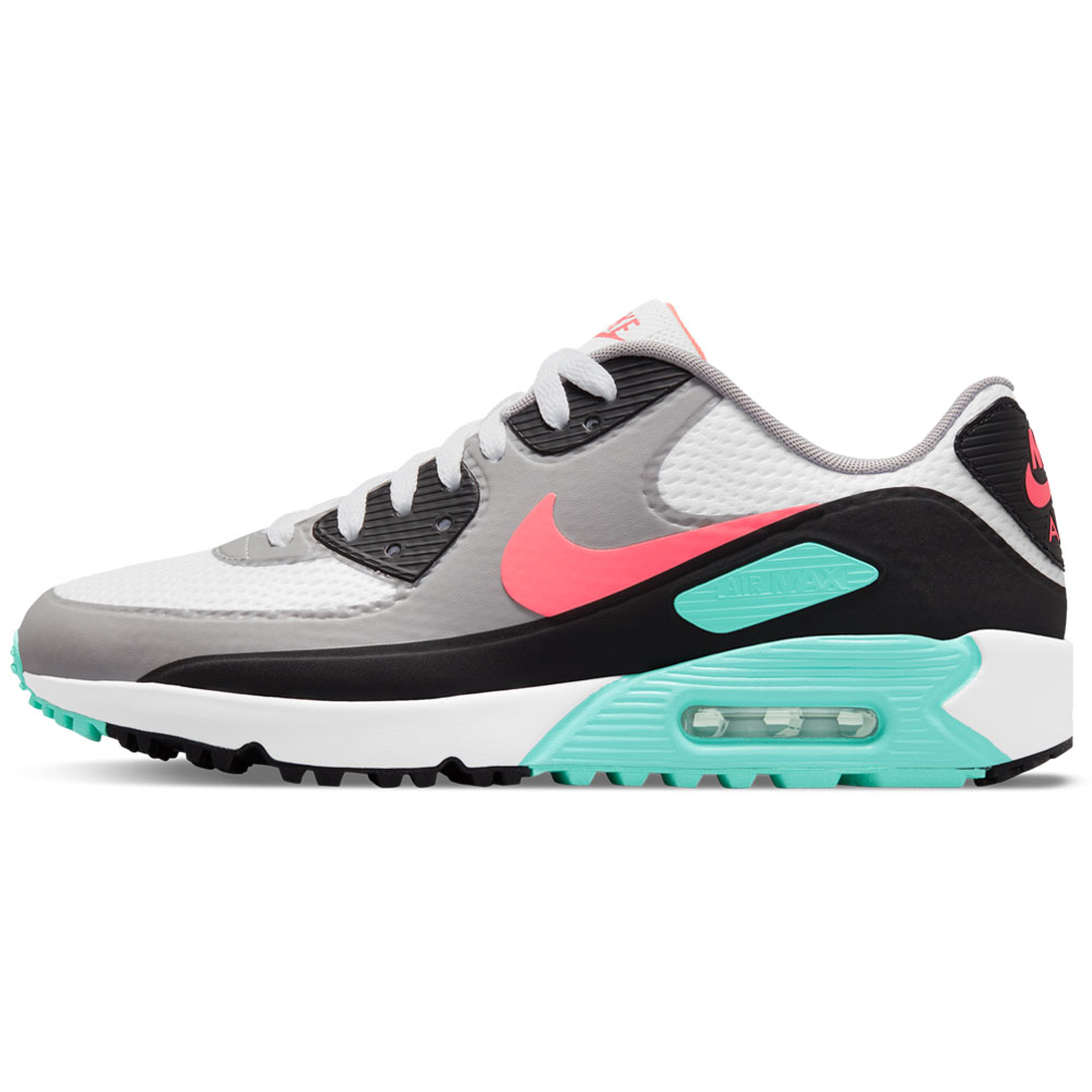 Nike Air Max 90 G Spikeless Waterproof Golf Shoes  - White/Hot Punch/Black