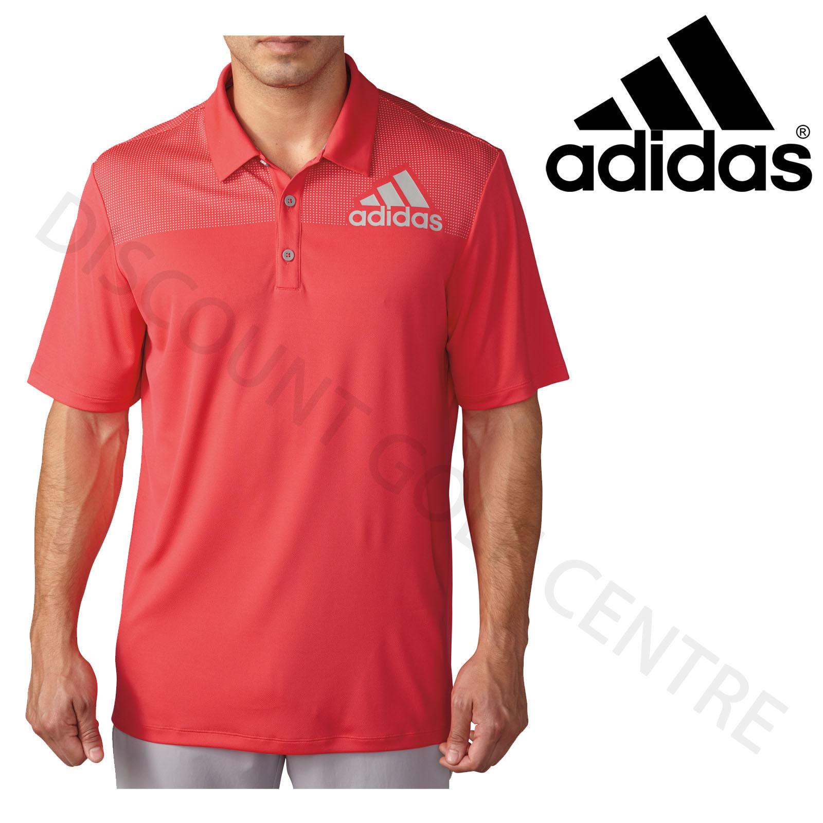 Adidas 2016 Big Logo Dot Print Lightweight Mens Golf Polo Shirt Shock Red/Stone Small f4YYuSTSu