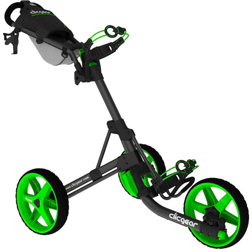 Clicgear 3.5+ Golf Trolley Push Cart + Free Wheel Covers  - Charcoal/Lime