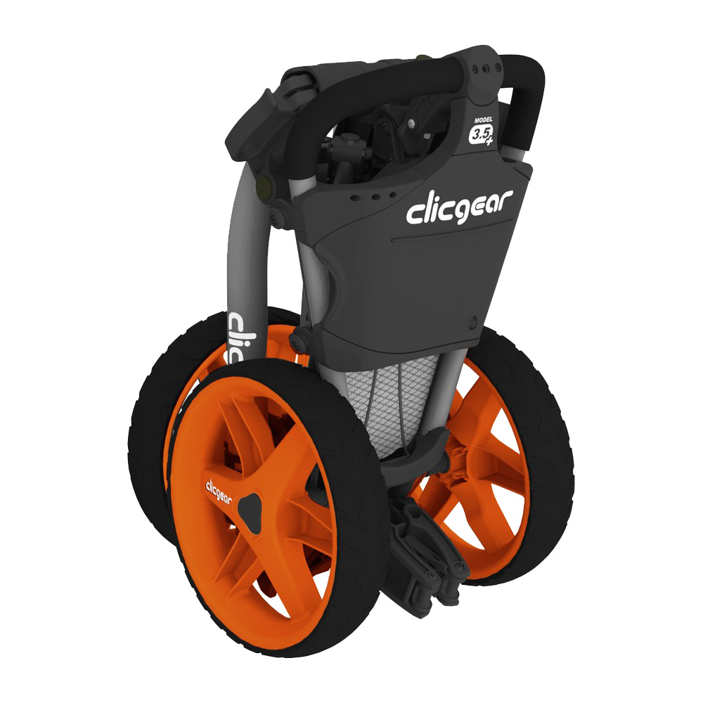 Clicgear 3.5+ Golf Trolley Push Cart + Free Wheel Covers  - Charcoal/Orange