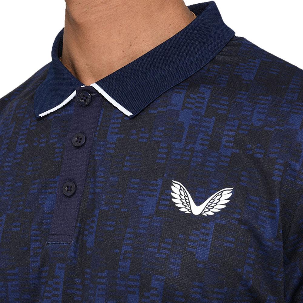 Castore Performance Geo Printed Mens Golf Polo Shirt  - Navy