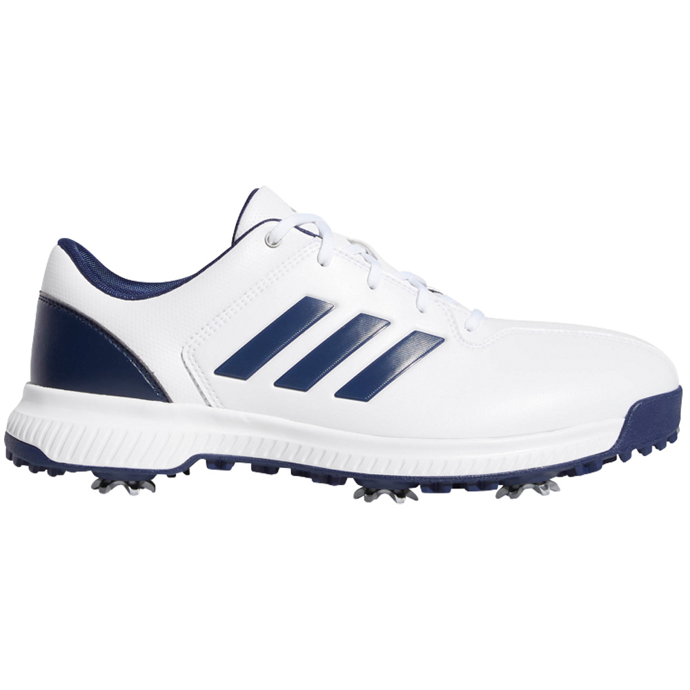adidas CP Traxion Water-Resistant Mens Golf Shoes - Wide Fit  - White/Dark Blue/Silver Metallic