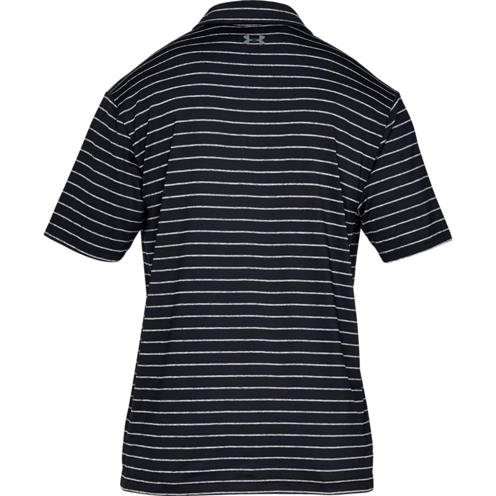 Under Armour Mens Tour Stripe PlayOff Golf Polo Shirt  - Black/Grey