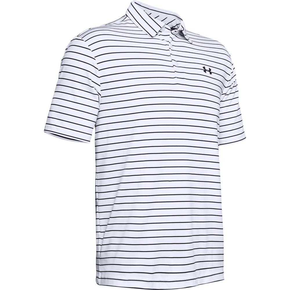 Under Armour Mens Tour Stripe PlayOff Golf Polo Shirt  - White/Black