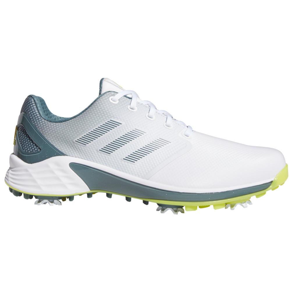 adidas ZG21 Waterproof Lightweight Mens Golf Shoes (White/Acid Yellow/Blue Oxide)