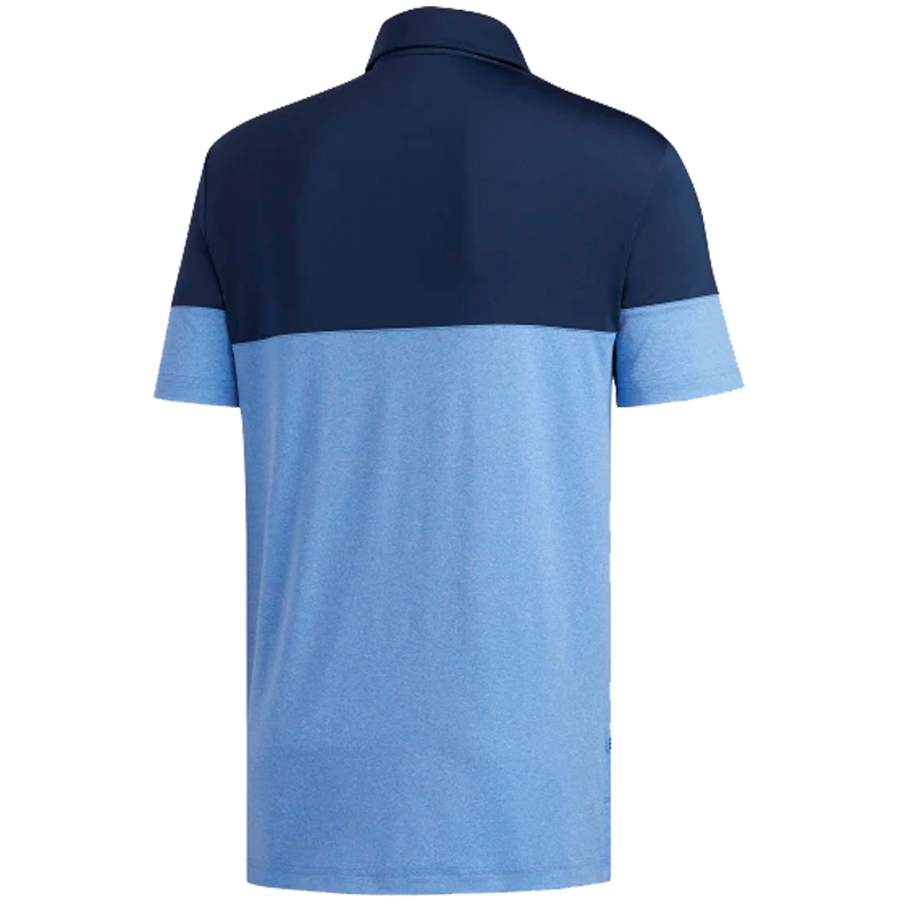 adidas Golf Ultimate 2.0 Heather Blocked Short Sleeve Mens Polo Shirt  - S/L True Blue