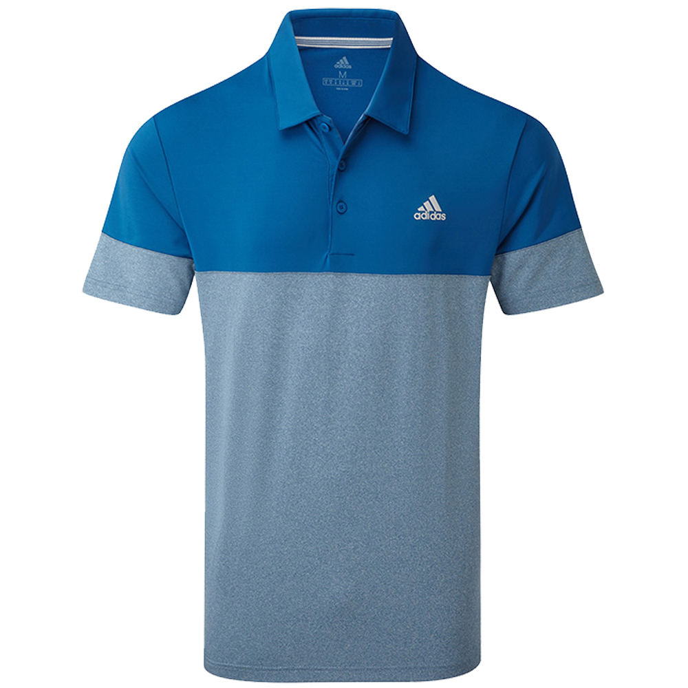 adidas Golf Ultimate 2.0 Heather Blocked Short Sleeve Mens Polo Shirt  - Dark Marine
