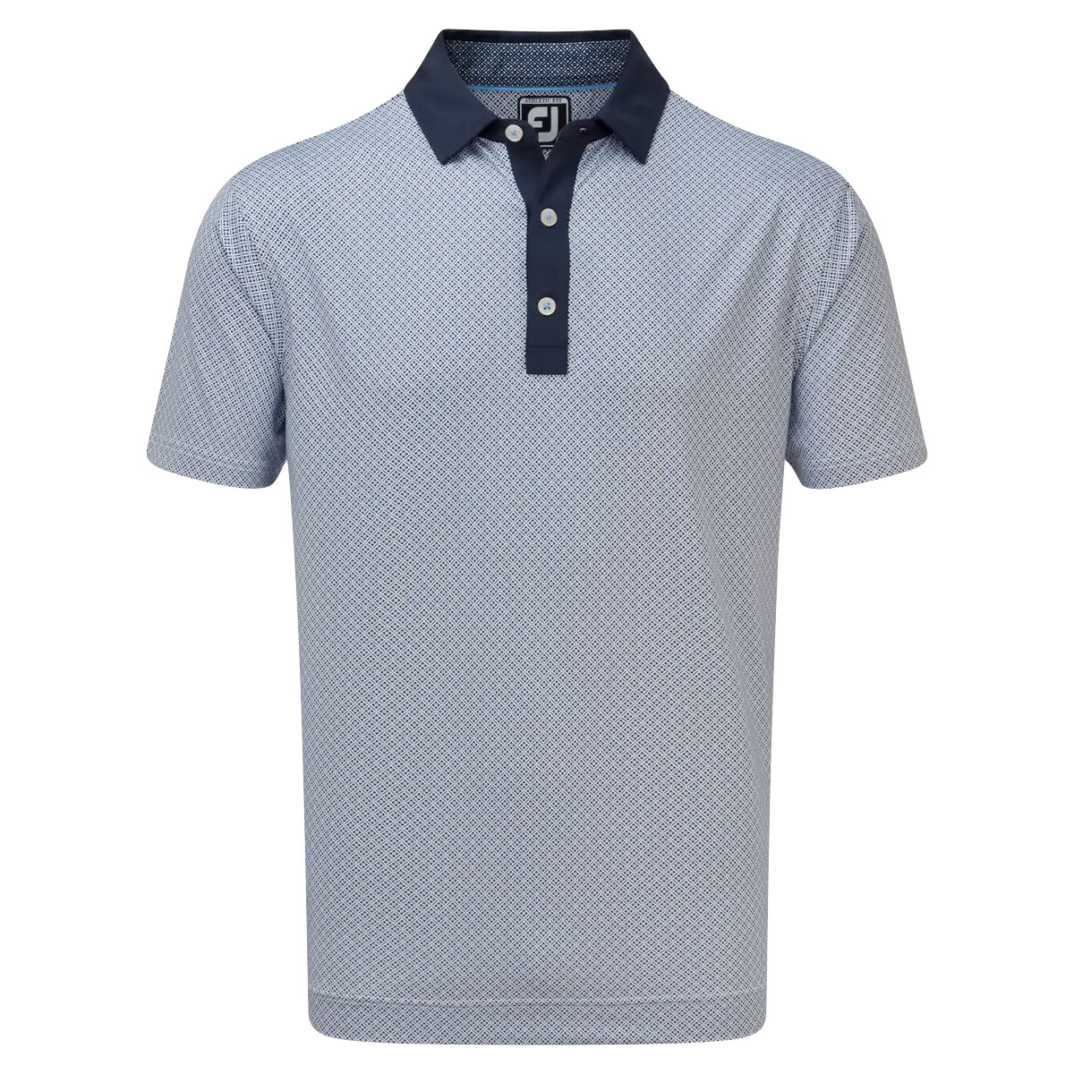 FootJoy Lisle Foulard Print Mens Golf Polo Shirt  - Navy/White