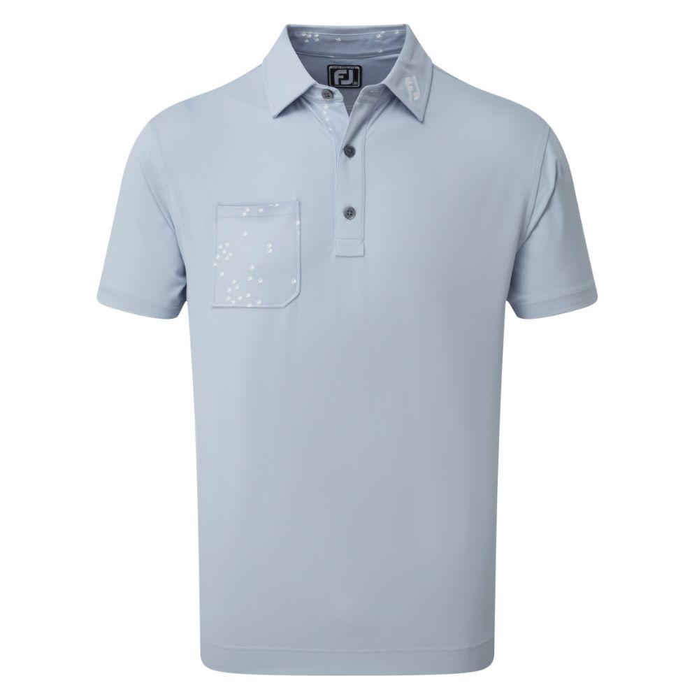 FootJoy Golf Flock of Bird Print Trim Mens Polo Shirt  - Blue Fog
