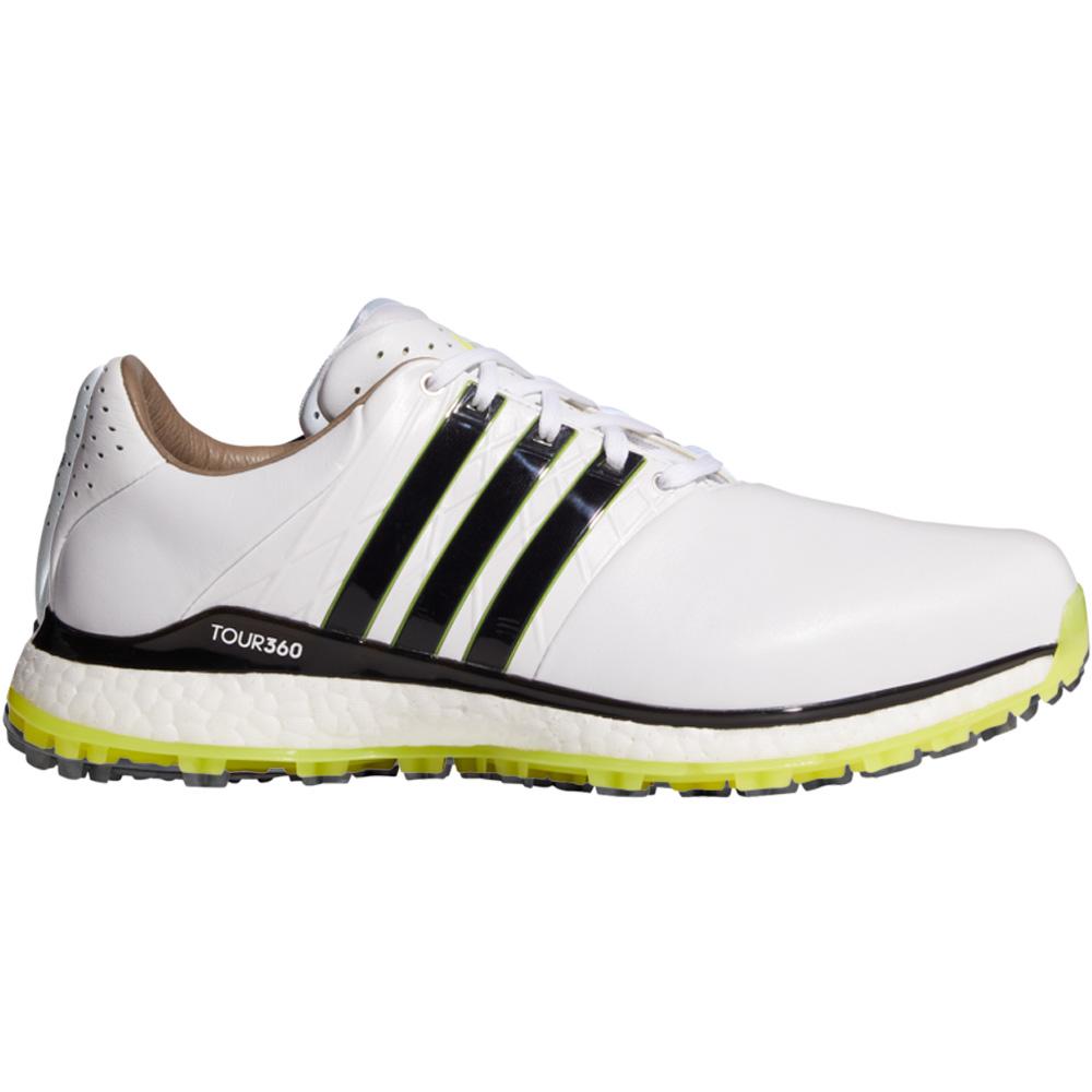adidas Tour360 XT-SL 2 Mens Spikeless Golf Shoes (White/Core Black/Acid Yellow)