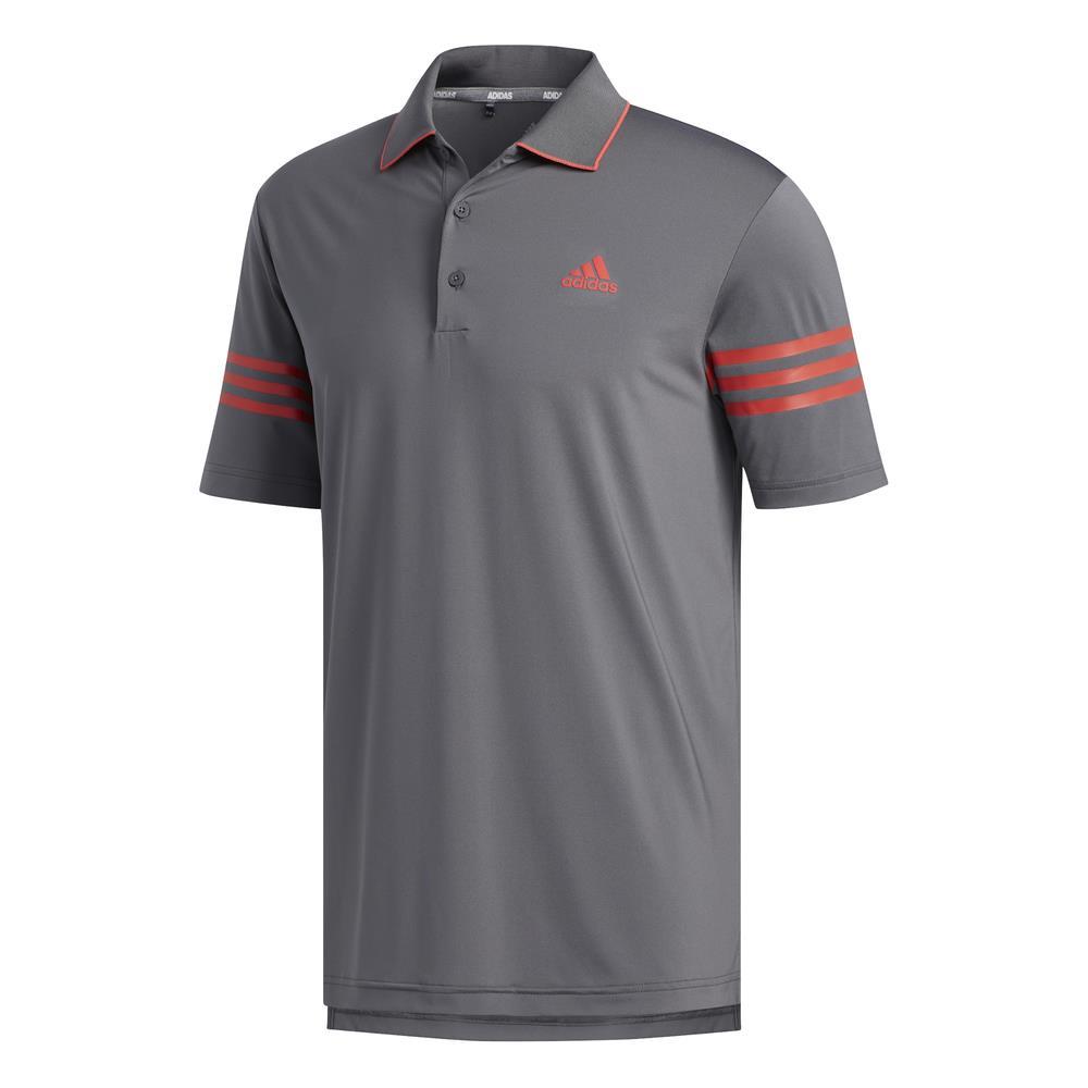 adidas Golf Ultimate365 Blocked Mens Polo Shirt  - Grey Five/Real Coral