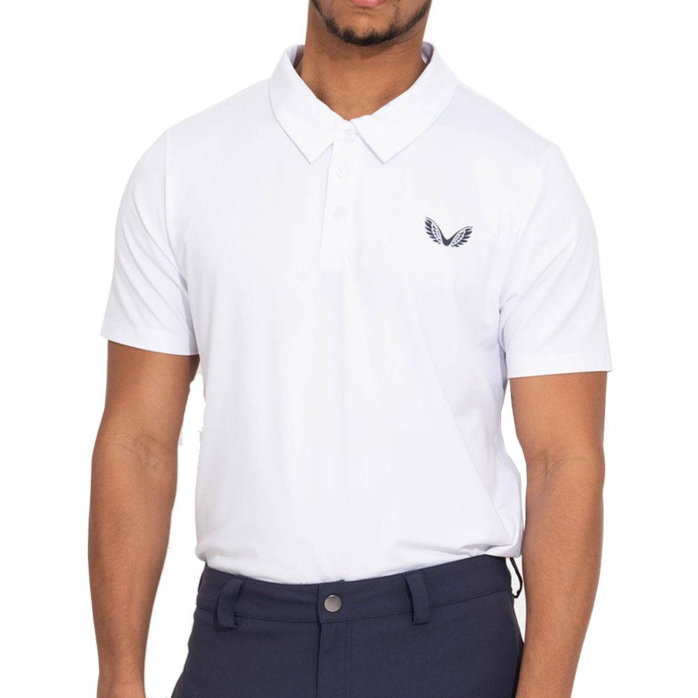 Castore Performance Air Pique Mens Golf Polo Shirt  - White