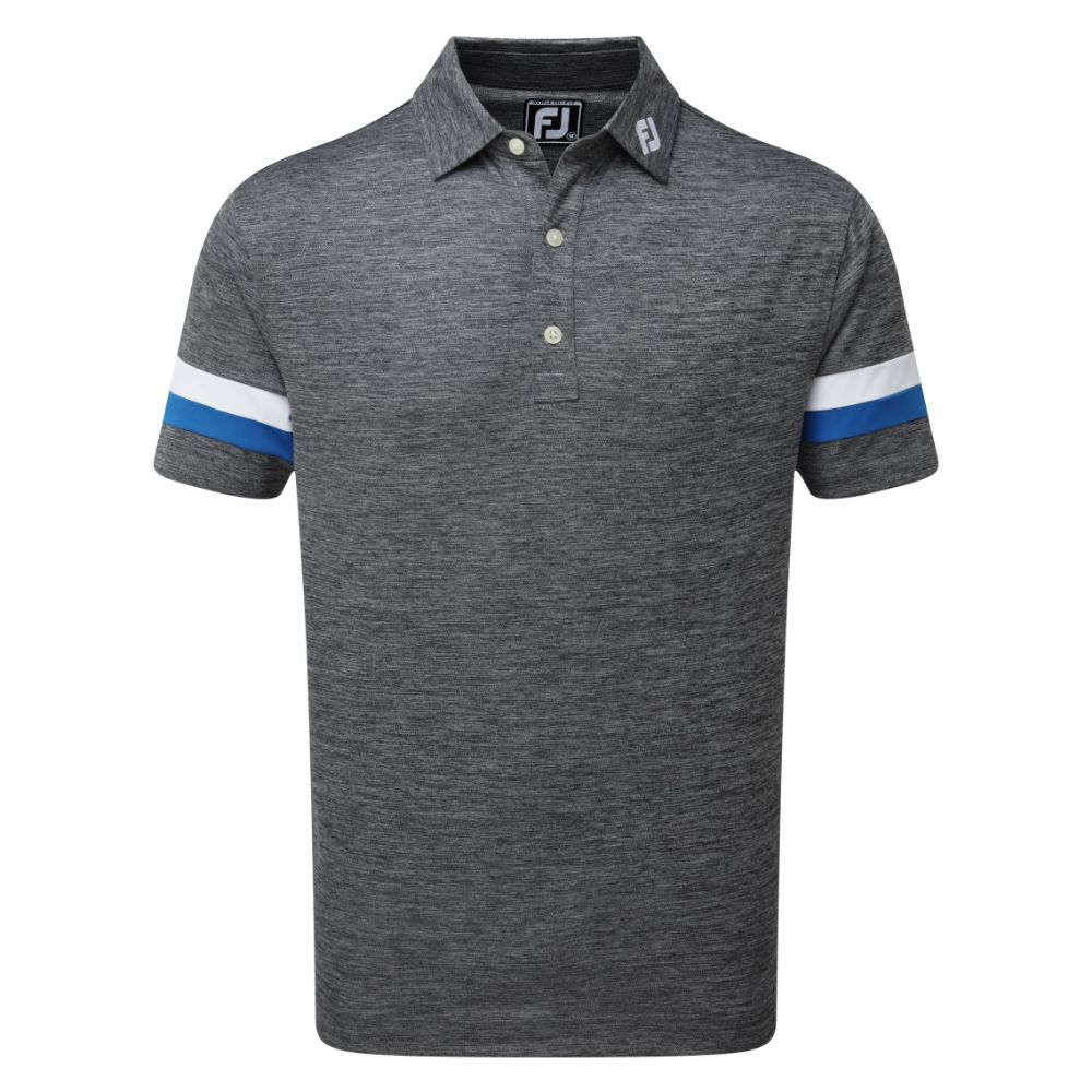 FootJoy Golf Smooth Pique Space Dye Mens Polo Shirt  - Black/Royal/White