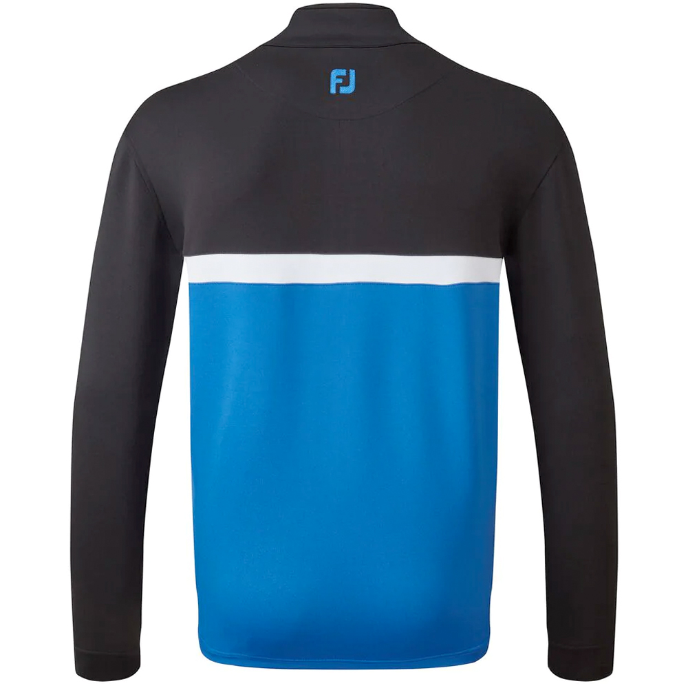 FootJoy Golf Colour Blocked Chill-Out Mens Pullover  - Black/Royal/White