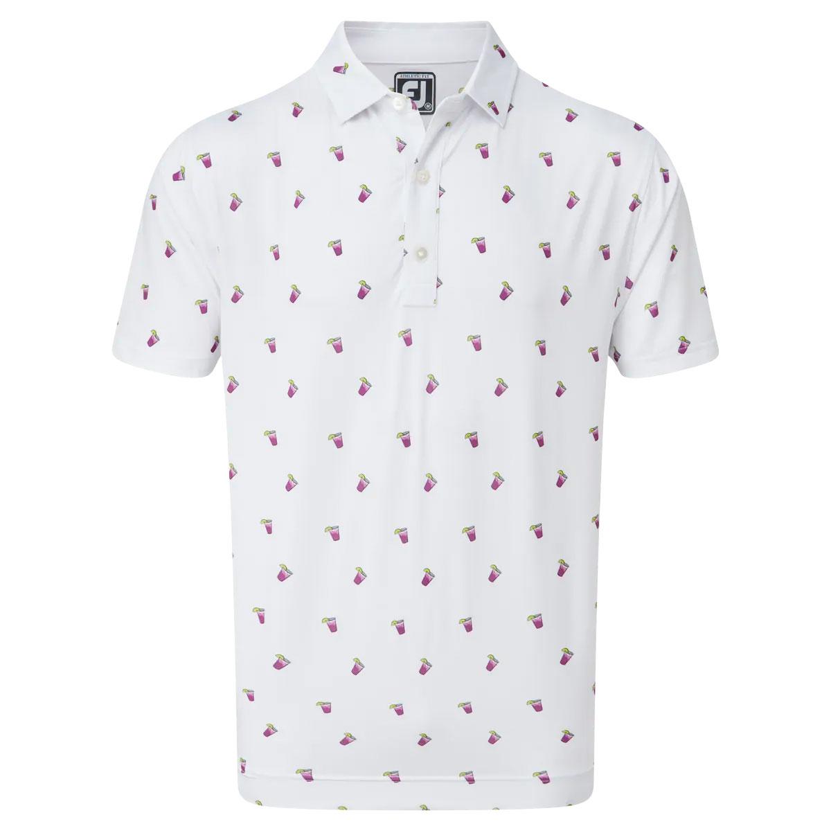 FootJoy Lisle Cocktail Print Mens Golf Polo Shirt  - White