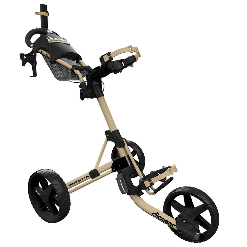 ClicGear 4.0 Golf Trolley Push Cart + Free Wheel Covers  - Army Brown