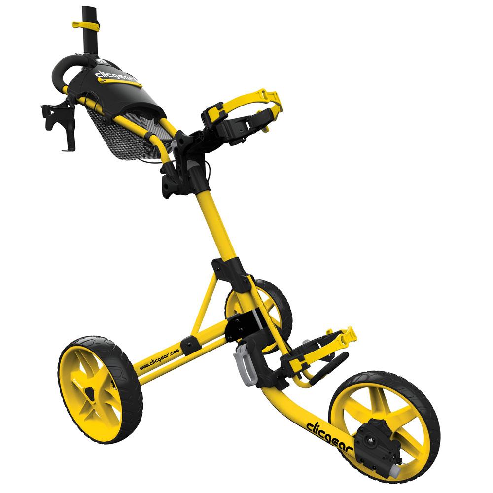 ClicGear 4.0 Golf Trolley Push Cart + Free Wheel Covers  - Yellow