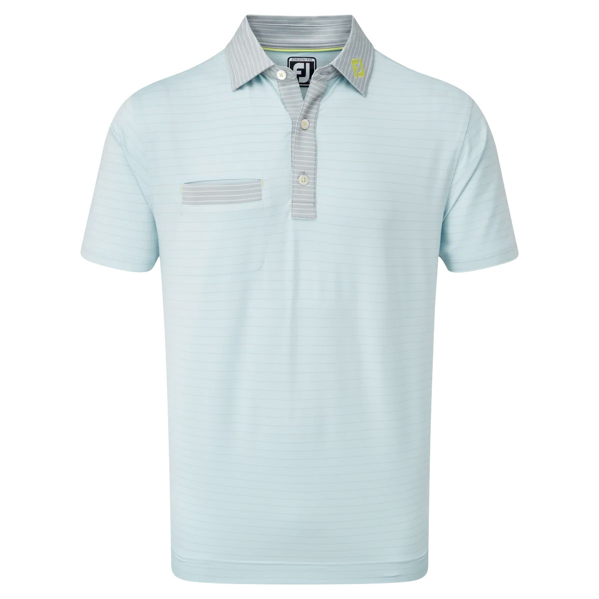 FootJoy Lisle Pinstripe Mix Mens Golf Polo Shirt  - Ice Blue