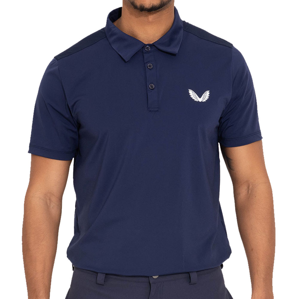 Castore Performance Mesh Mens Golf Polo Shirt  - Navy