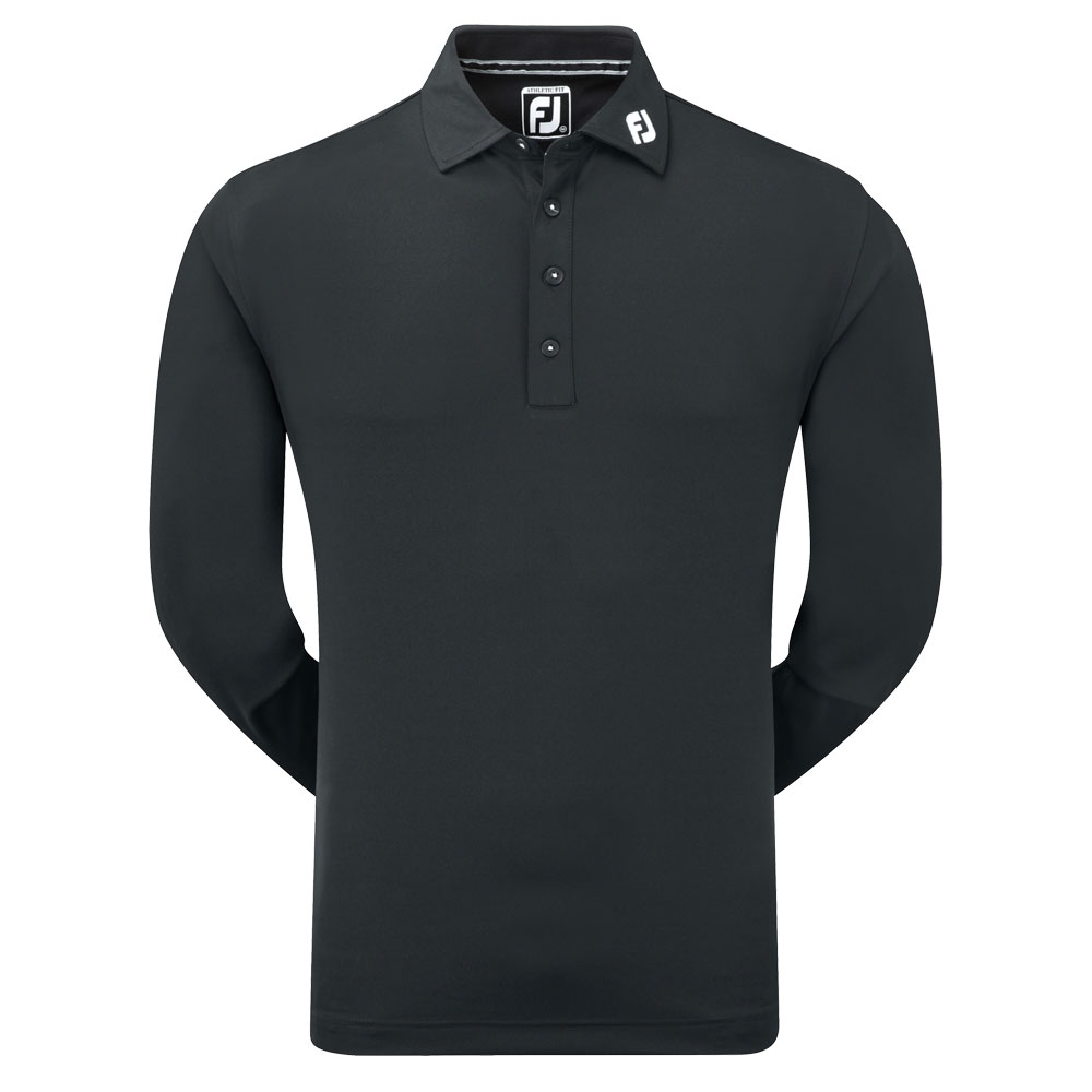FootJoy Thermolite Long Sleeved Smooth Pique Polo Shirt  - Black