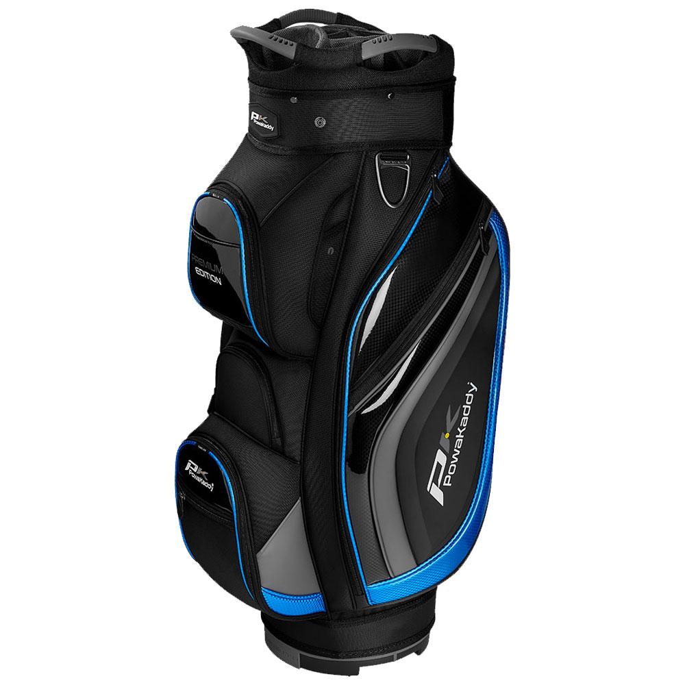 PowaKaddy Premium Edition 14-Way Divider Cart Bag  - Black/Gunmetal/Blue