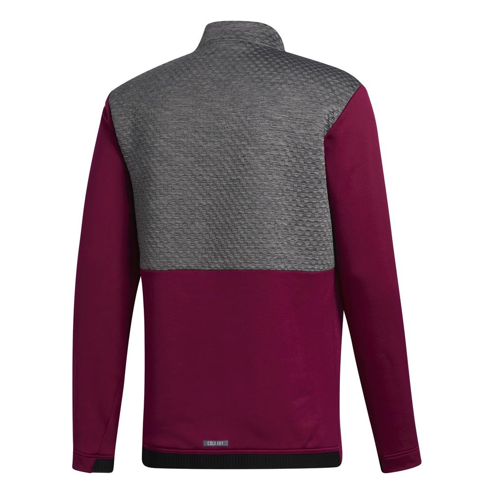 adidas Golf Mens COLD.RDY Quarter Zip Pullover  - Power Berry