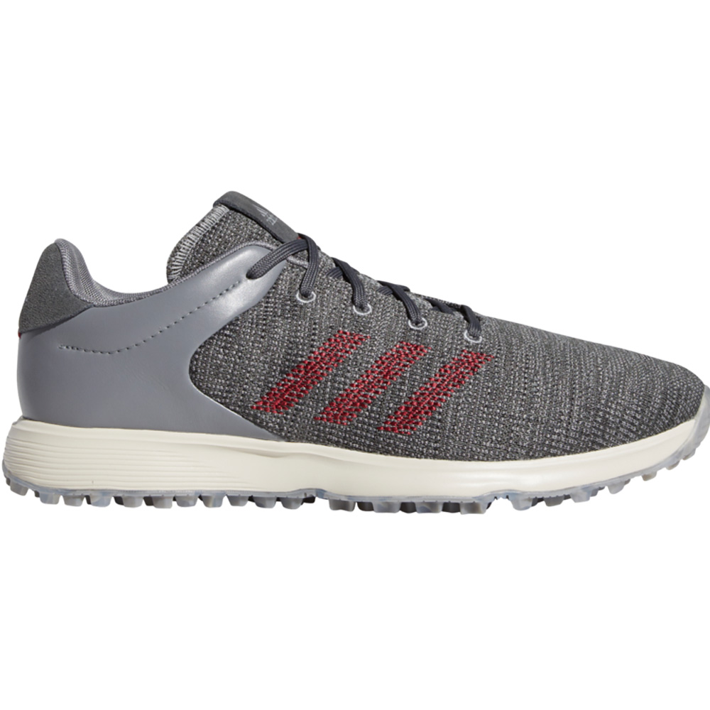 adidas S2G Mens Waterproof Spikeless Golf Shoes  - Grey Three/Collegiate Burgundy