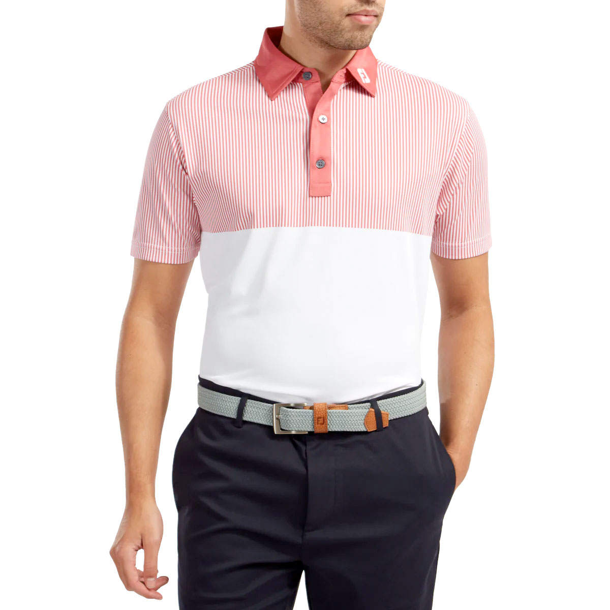 FootJoy Smooth Pique Engineered Vertical Print Mens Golf Polo Shirt