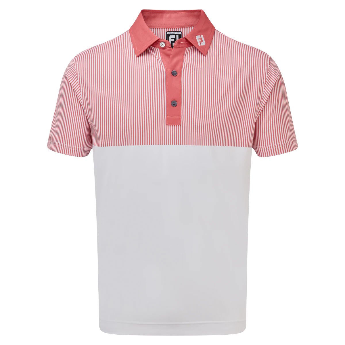 FootJoy Smooth Pique Engineered Vertical Print Mens Golf Polo Shirt  - White/Cape Red