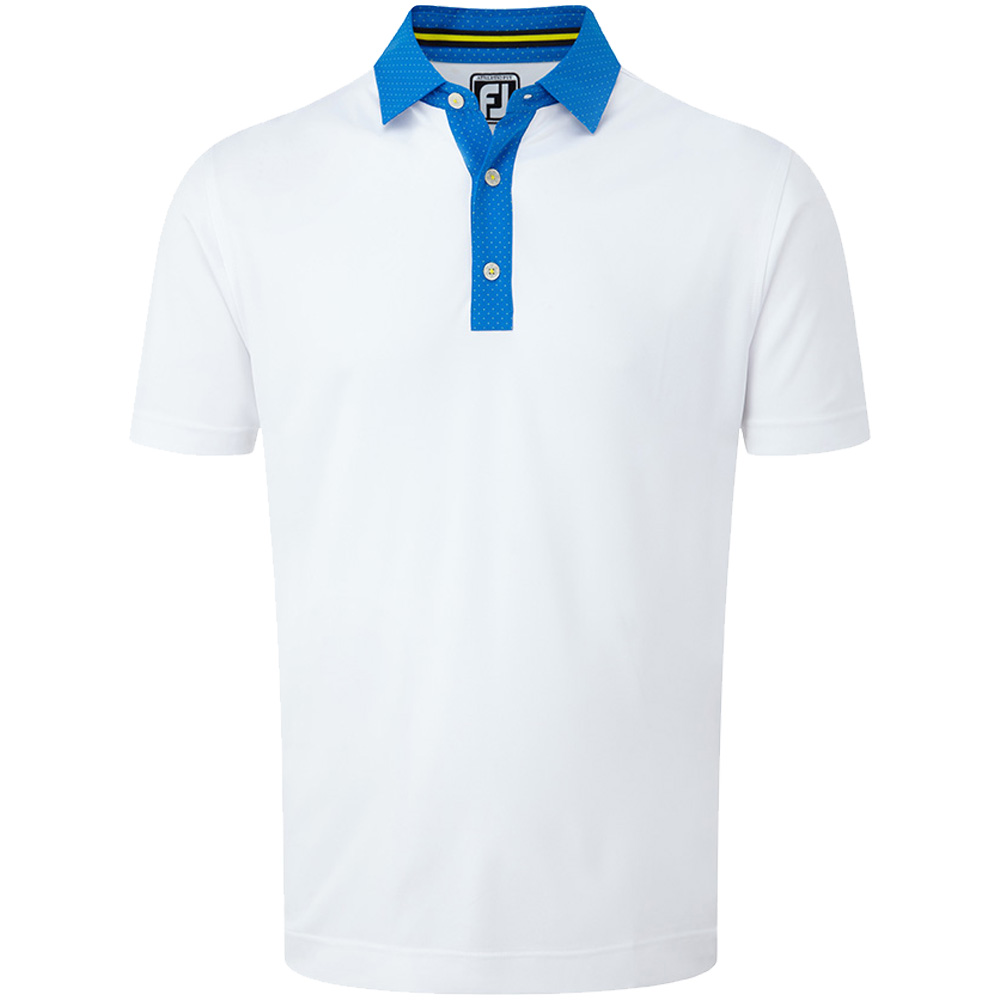 FootJoy Golf Smooth Pique Pin Dot Mens Polo Shirt  - White/Cobalt/Yellow