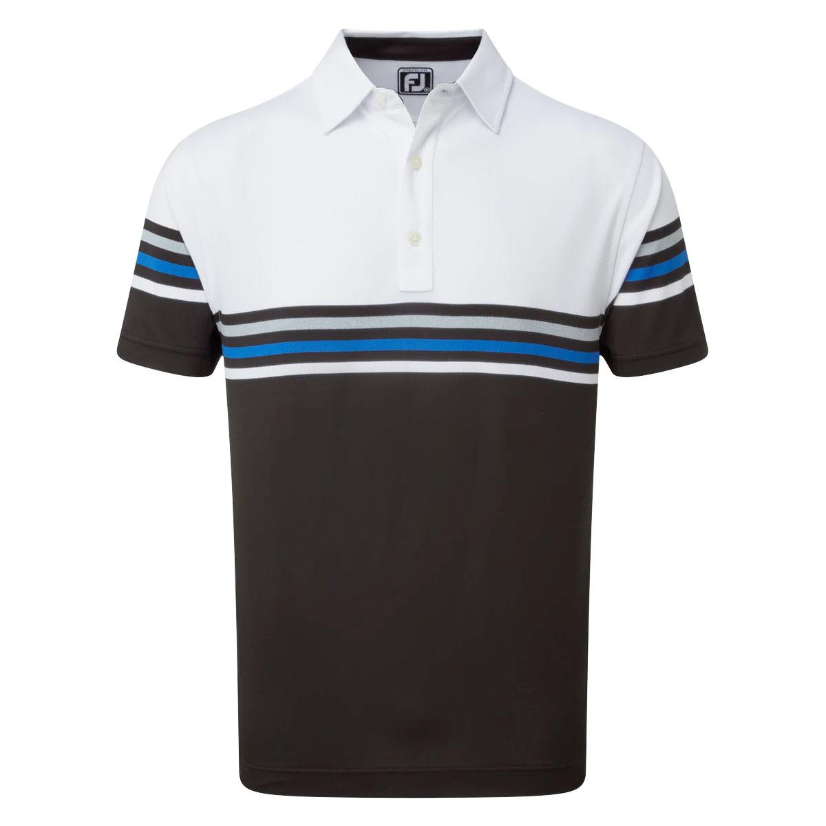 FootJoy Stretch Pique Colour Block Mens Golf Polo Shirt  - White/Black