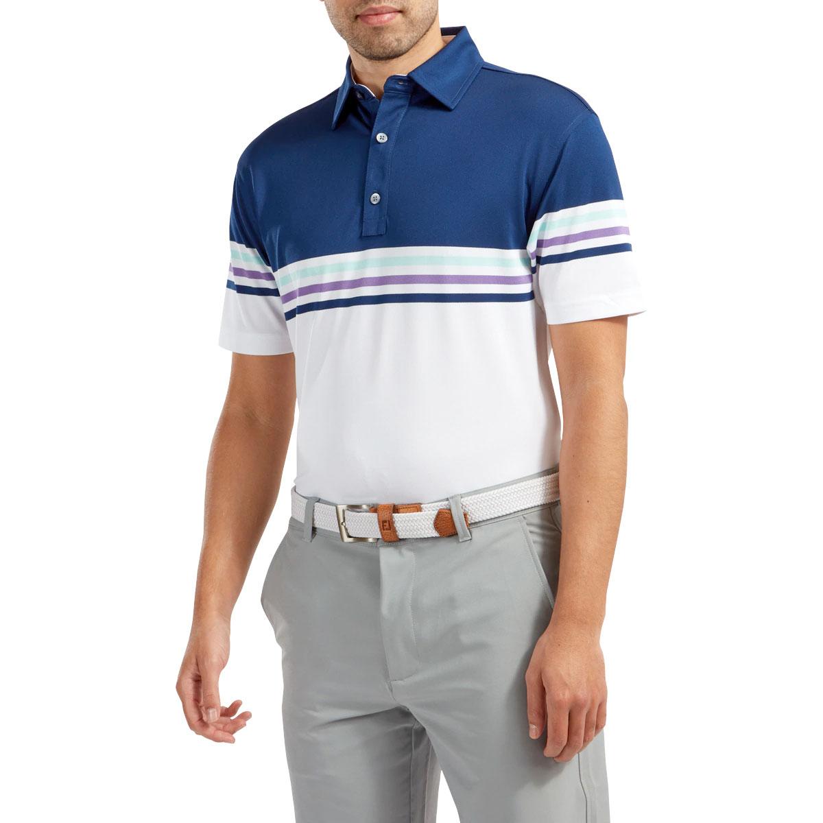 FootJoy Stretch Pique Colour Block Mens Golf Polo Shirt  - Blue/White