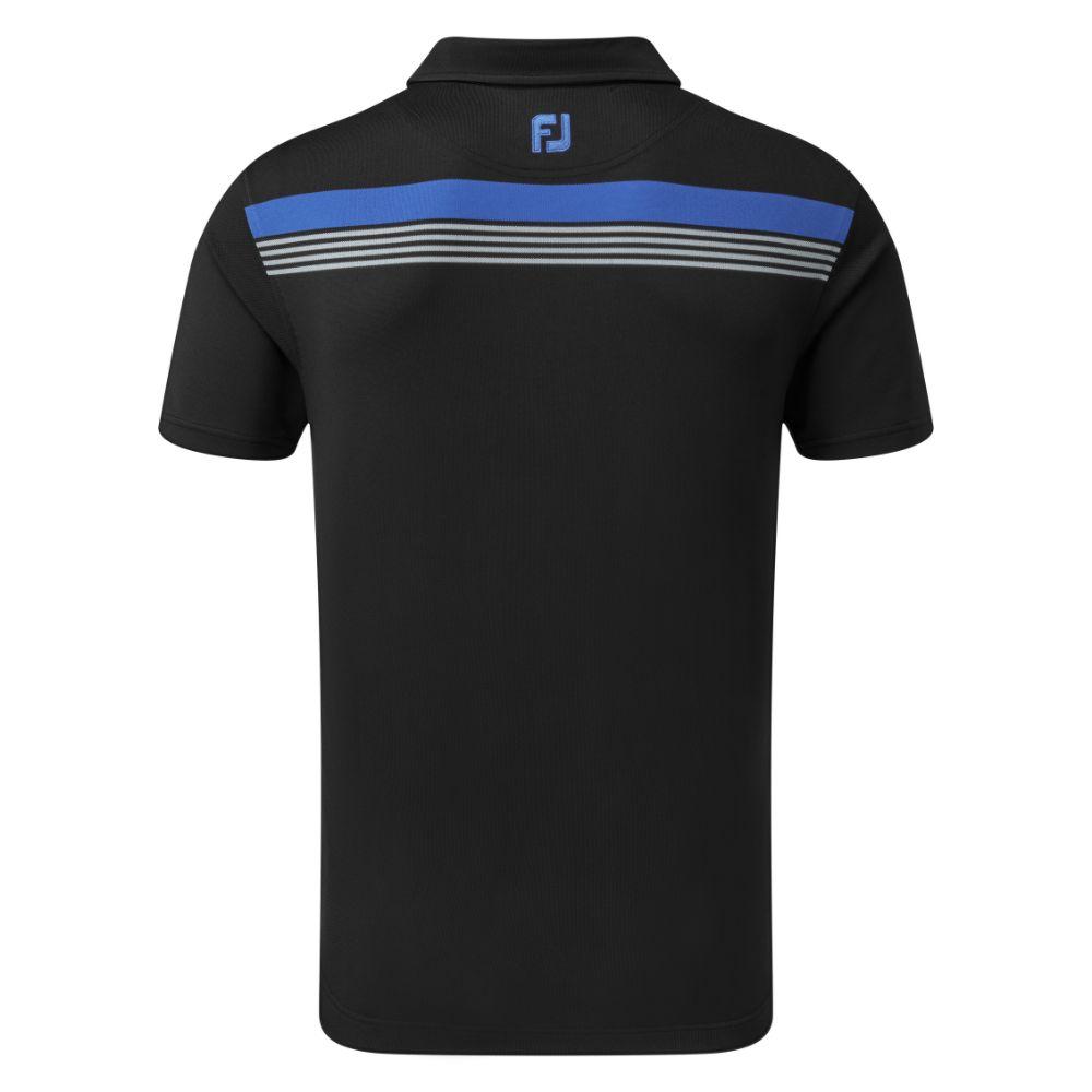 FootJoy Golf Stretch Pique Chestband Mens Polo Shirt  - Black/Royal/Grey