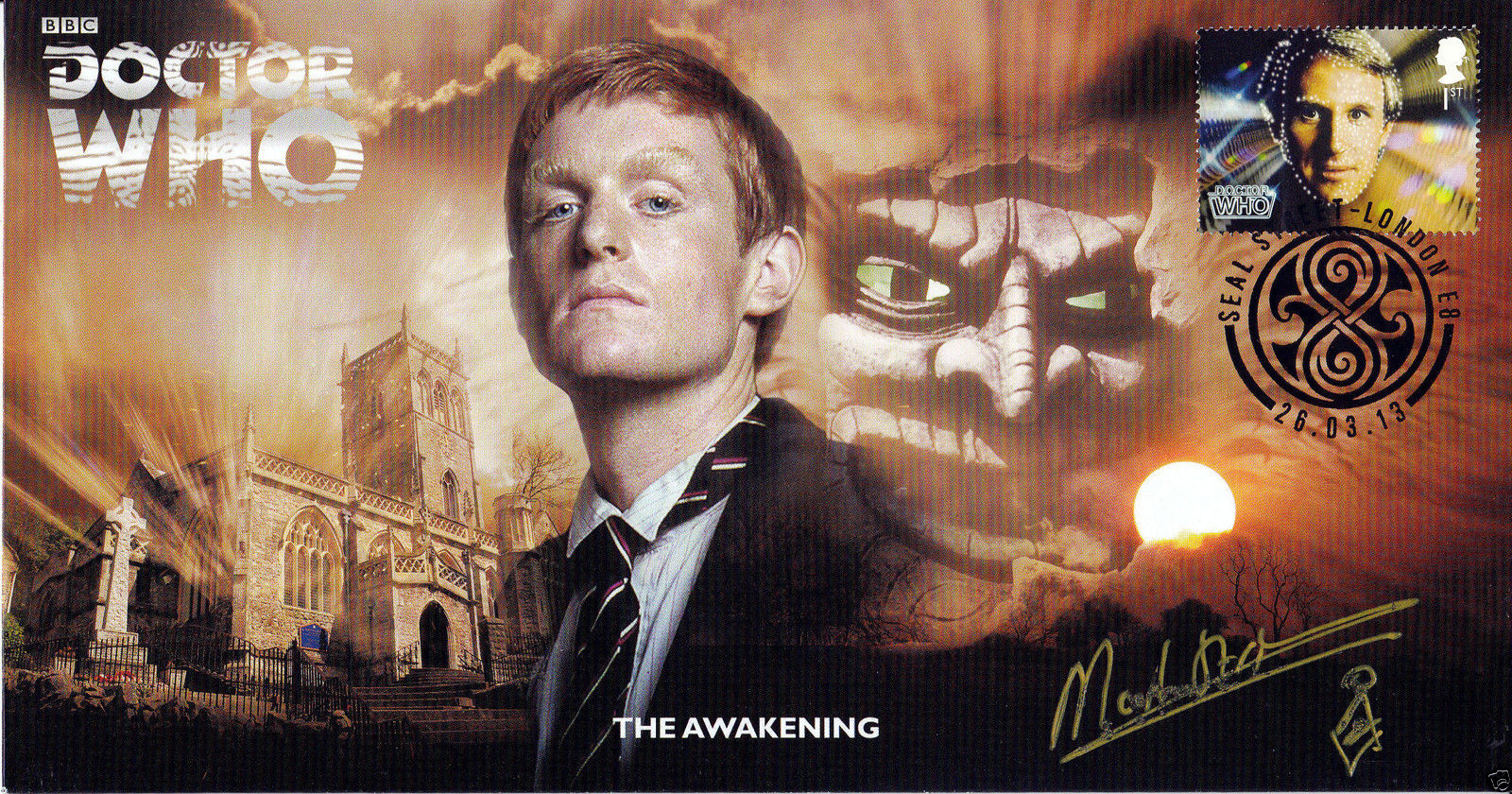 Doctor Who The Awakening Classic Episode Stamp Cover Signed MARK STRICKSON