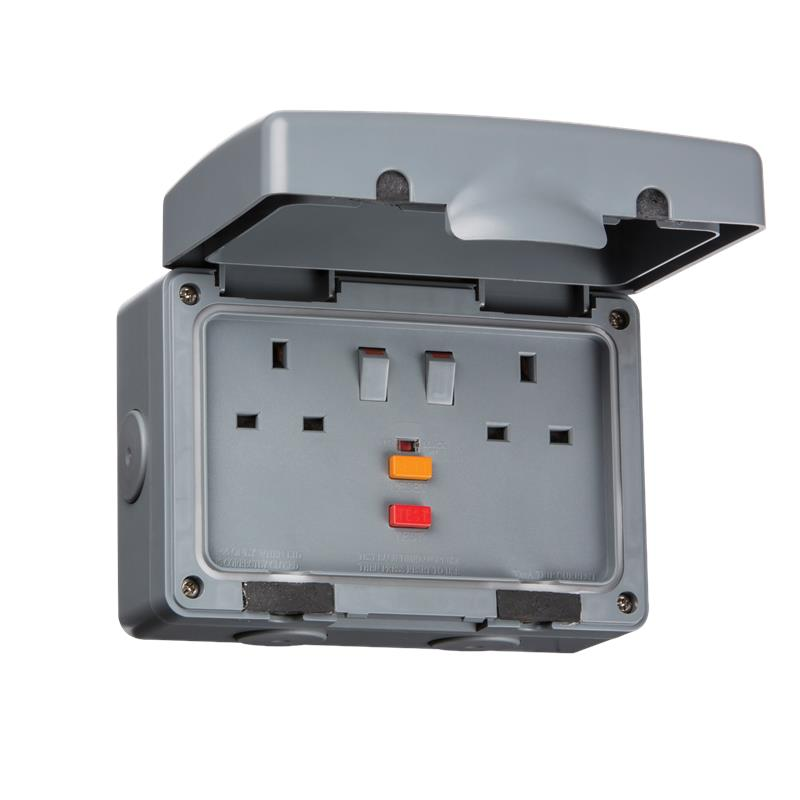 Weatherproof Outdoor Rcd Double Switched Socket 13a 2g