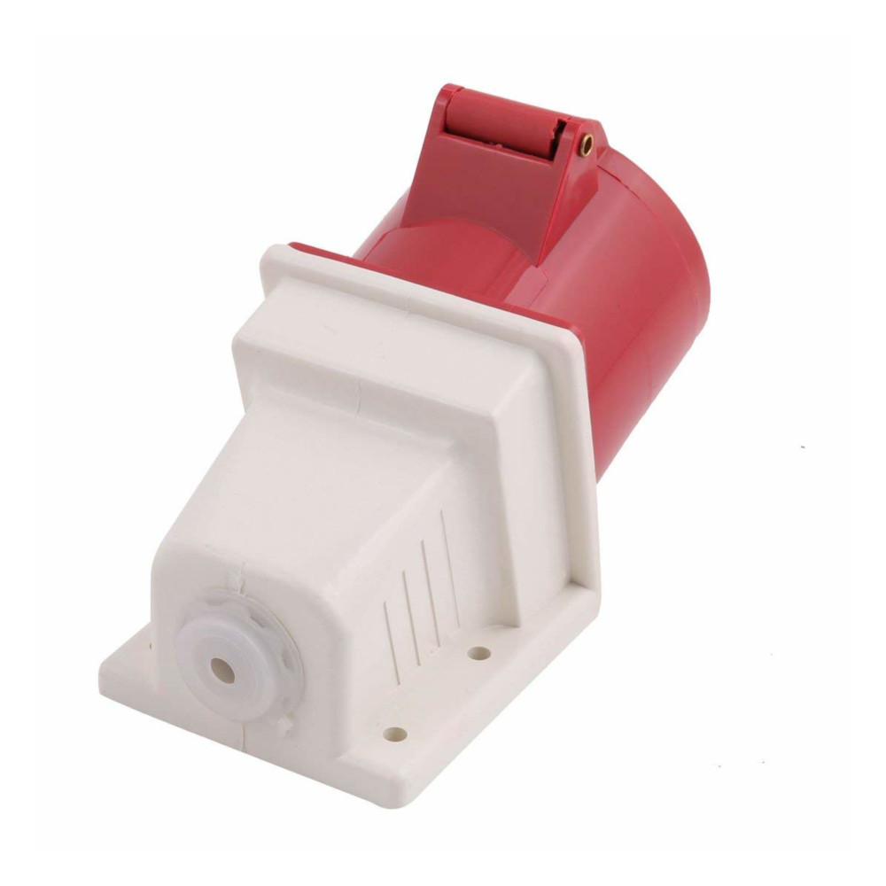32A wall mount socket 4 pin 415V IP44 32 amp fast fit 3 phase 3P+E