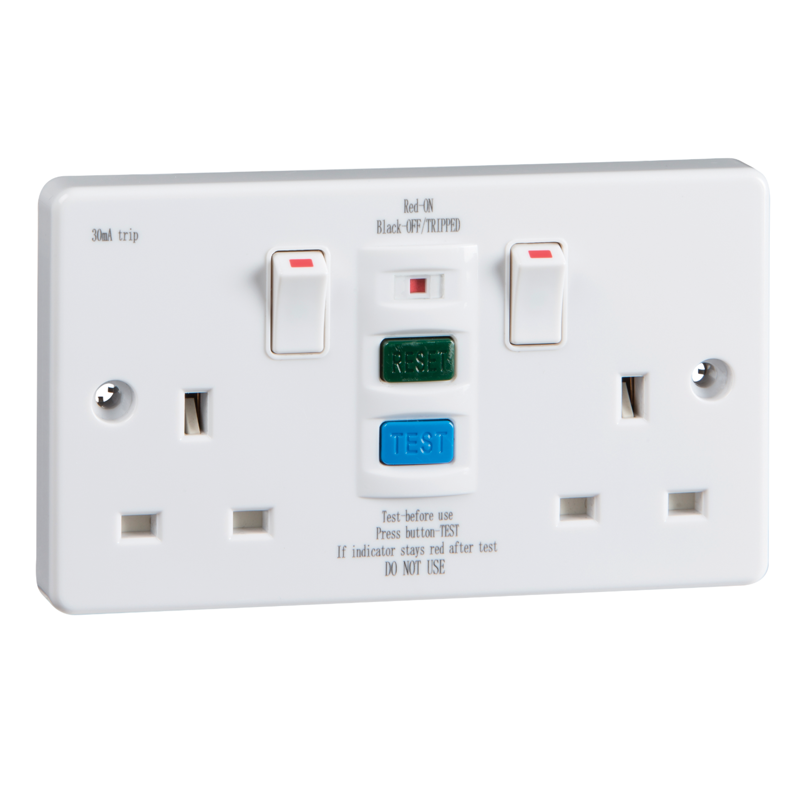 Rcd9000 Rcd Twin Switched Socket Latching 30ma 13a