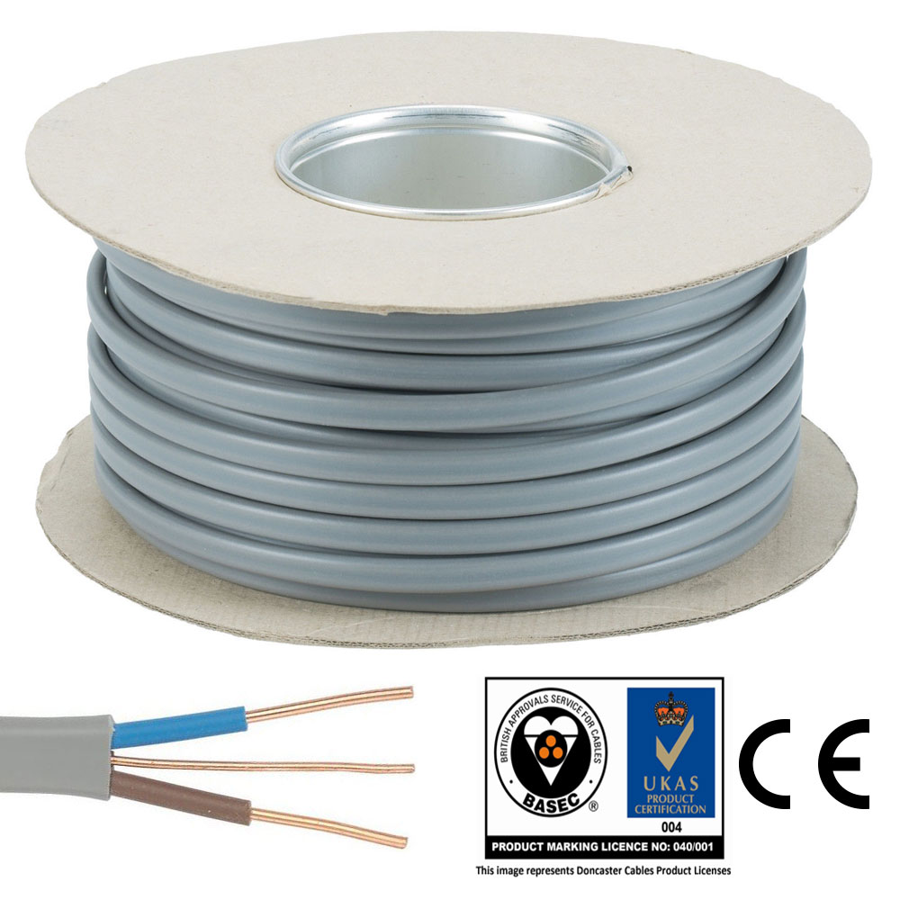 25mm 50m Roll Twin And Earth Te Electric Cable Wire Lights Wiring Electrical Socket