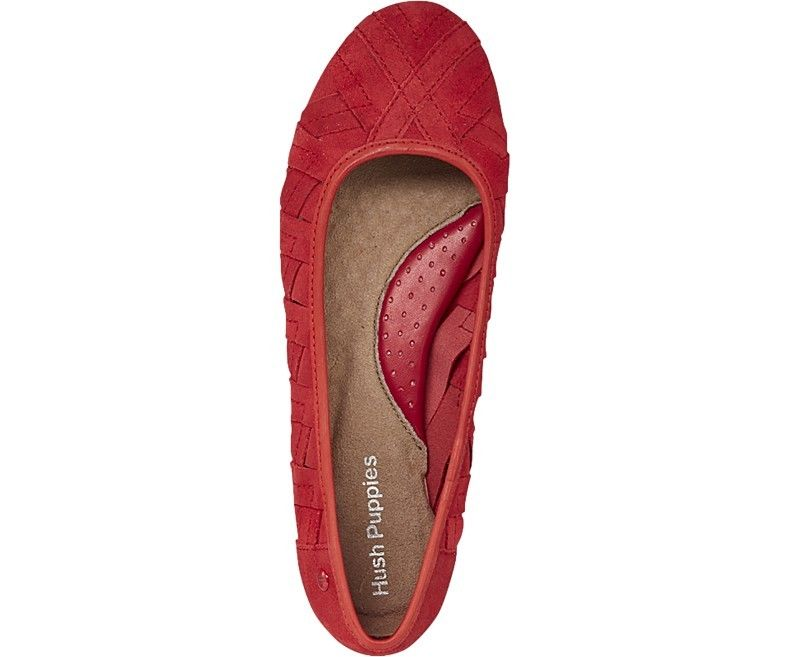 c8517f6e20236 Hush Puppies Emmaline Chaste Womens Red Suede Flat Slip On Shoes | eBay