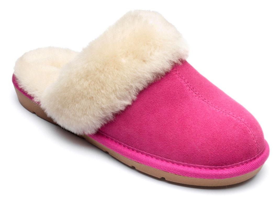 Pantuflas de mujer de gamuza con forro de lana cálido, color Rosa, talla 39
