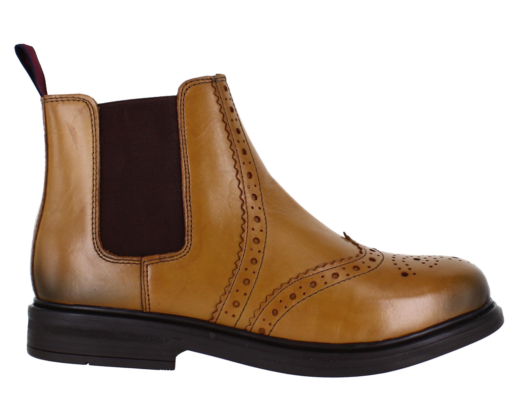 Boys Brown Leather Brogue Chelsea Dealer Ankle Boots Sizes UK 9-6 Catesby CX30DE