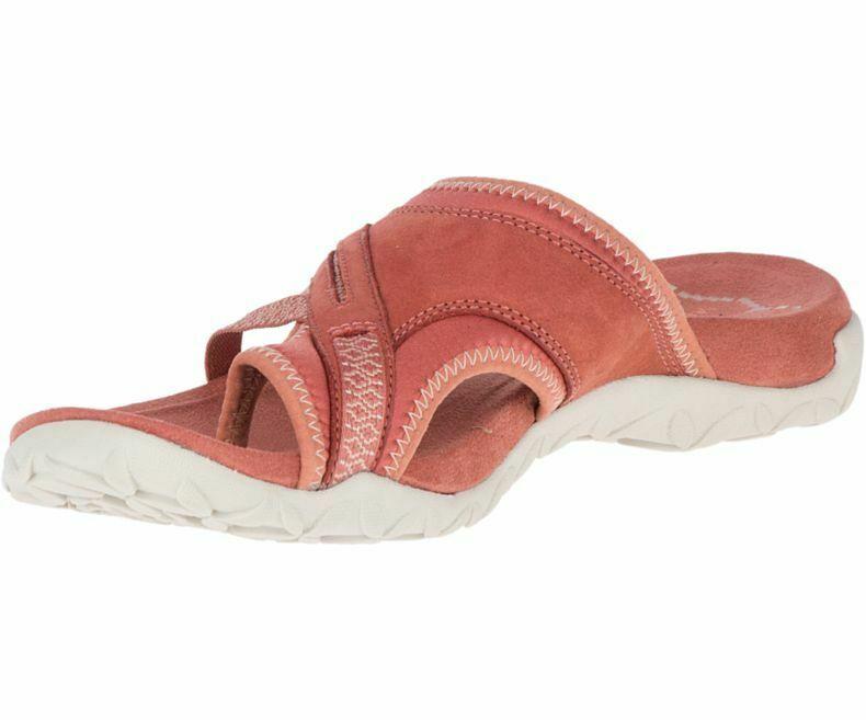 Merrell Terran Post II Womens Olive Mule Slip On Casual Leather Sandals