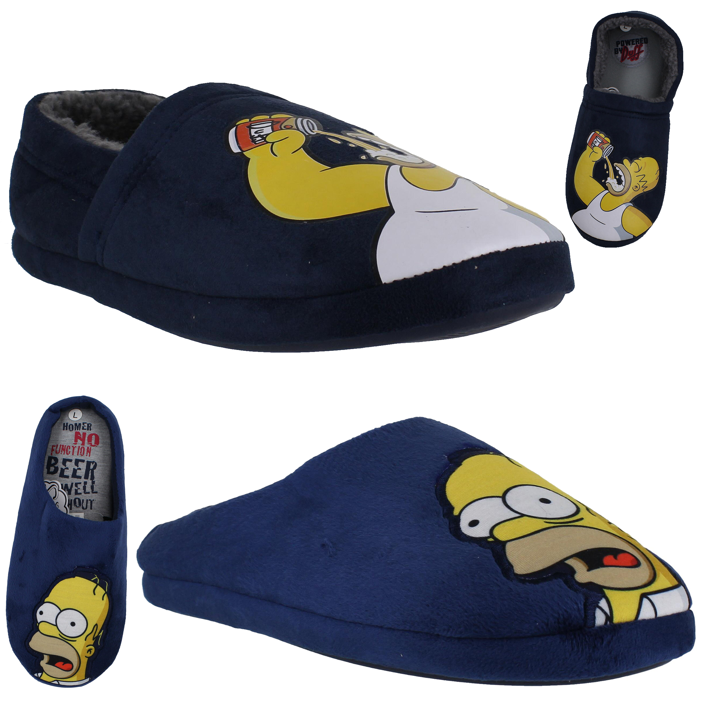 Mens Simpson Mule Slip On/Backed Cushioned Novelty Duff Slippers Sizes 6 to 11