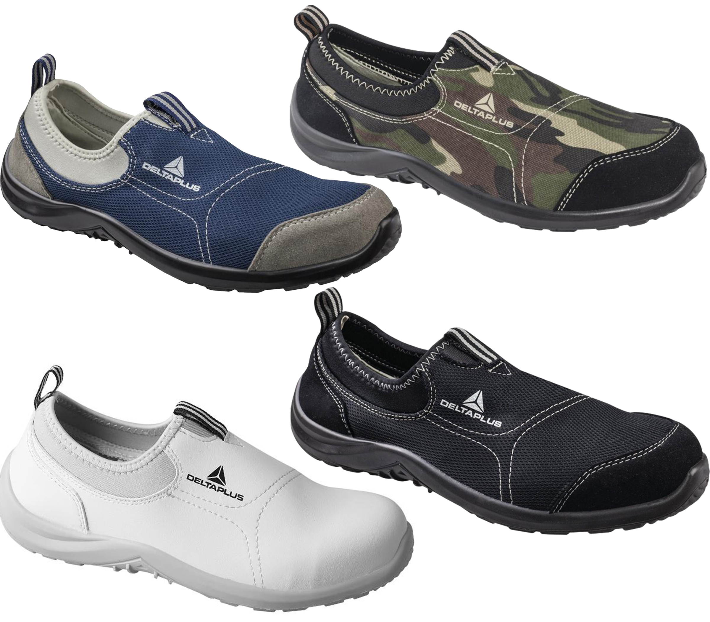 Details about MensWomens Delta Plus Miami Slip On Canvas Safety Steel Toe Shoes Sizes 3 to 13